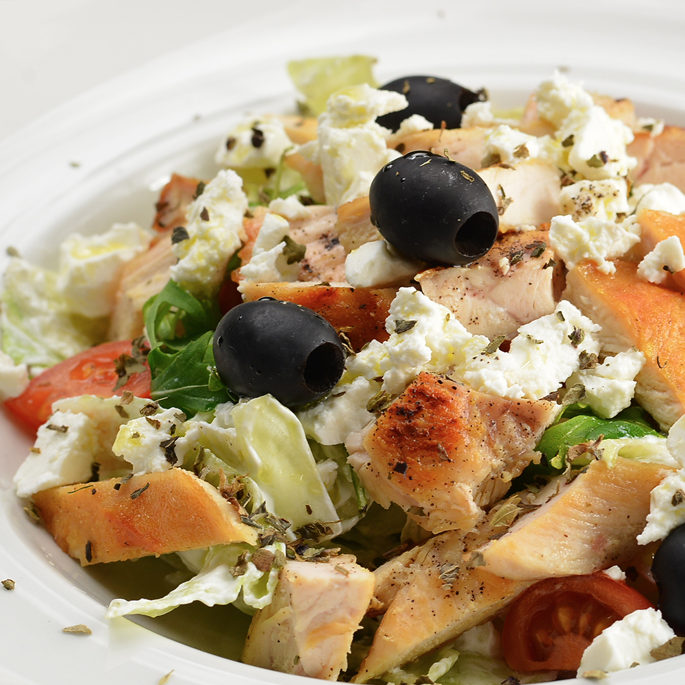 greek salad with chicken, feta and olives