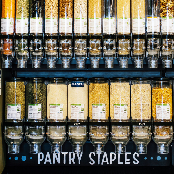 Bulk section with pantry staples in a New Leaf Community Markets