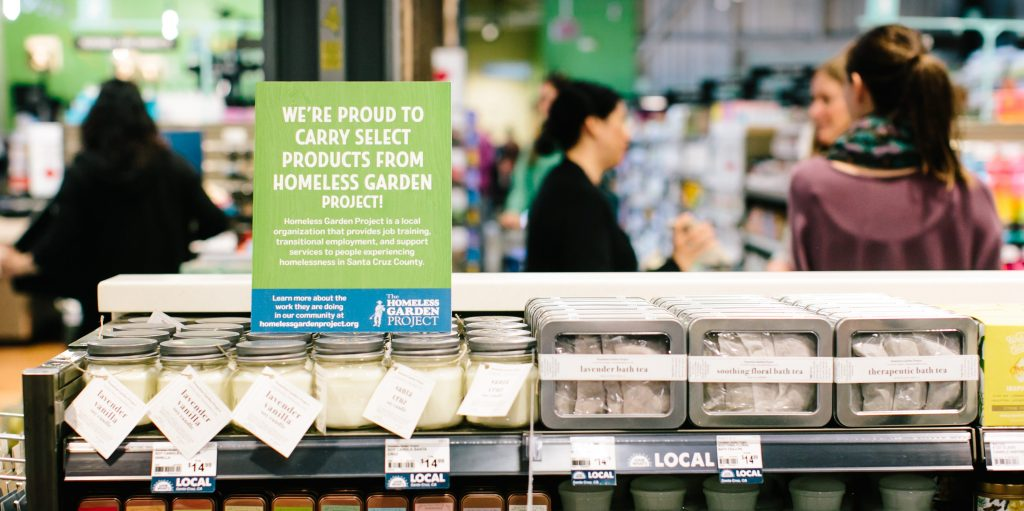 New Leaf Community Markets partners with Homeless Garden Project for more than 16 years and we're proud to carry their candles, bath teas, hand salves, herbs and more in our wellness departments. All made with certified organic crops from their Westside Santa Cruz farm.