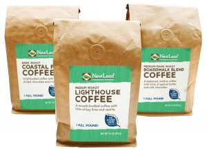 New Leaf and Friends Coffee in full one pound bags made in collaboration with local company, Cat and Cloud Coffee